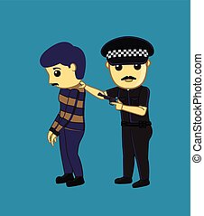 Police Arrested a Fraud Man Vector Illustration