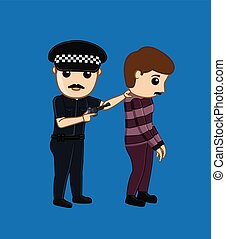 Police Arrested a Thief Vector Illustration
