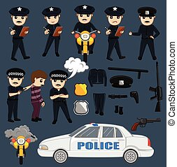Police and Equipments Vector Illustration