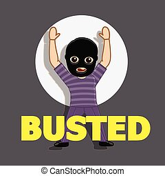 Busted Thief Character with Hand-up Position Vector...