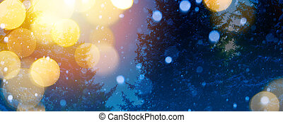 magia, arte, Inverno, fundo, luz, Natal