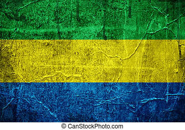 Flag of Gabon overlaid with grunge texture