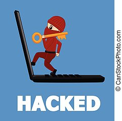 A Hacker Hacked Your Laptop Vector Illustration