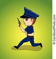 Running Female Police Vector Illustration