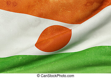 Republic of Niger flag waving - 3d rendering of an old and...