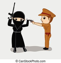 Female Police Arrested a Terrorist - Female Police Arrested...