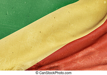 Republic of Congo flag waving - 3d rendering of an old and...