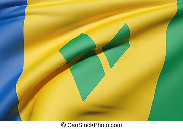 Saint Vincent and the Grenadines flag waving - 3d rendering...
