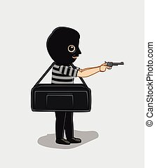 Robber with Money Bag and a Gun Vector Illustration