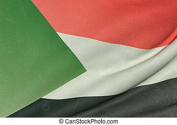 Sudan flag waving - 3d rendering of Sudan flag waving