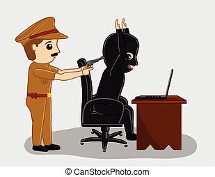 Police Arrested a Hacker Thief Vector Illustration