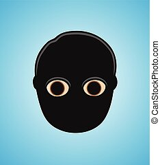 Robber Face with Black Mask Vector Illustration