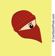 Balaclava Thief Face Vector Illustration