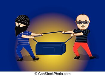 Robbers Fighting for Money Vector Illustration