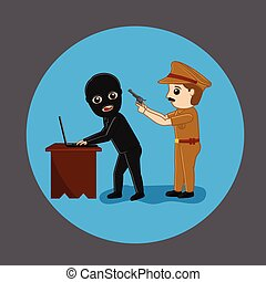 Police Arrested a Data Hacker Vector Illustration