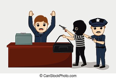 Police Arrested a Robber Vector Concept Illustration