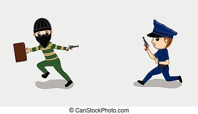 Police Firing on Robber Vector Illustration