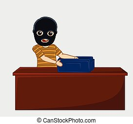 Robber with Money Bag Vector Illustration