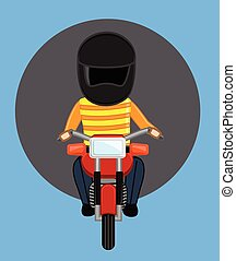 Robber on Bike with Helmet Vector Illustration