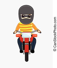 Robber on Bike Vector Illustration