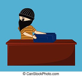 Robber Busted for Theft Vector Illustration