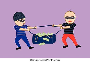 Two Robbers Fighting for Money Bag Vector Illustration