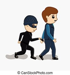 Pickpocket Trying to Steal Wallet Vector Concept...