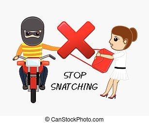 Stop Snatching Vector Concept Illustration