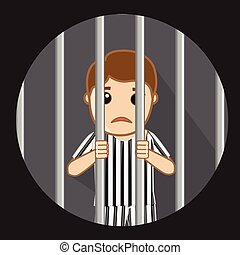 Corrupt Man Behind the Bars Vector Illustration