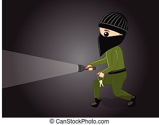Thief with Torch Vector Illustration