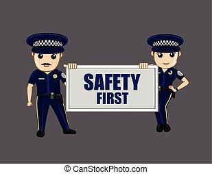 msg, polícia, mostrando, segurança, oficiais