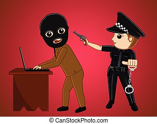 Police Arrested a Hacker Vector Illustration