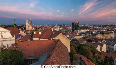 Kaptol and catholic cathedral day to night timelapse in the center of Zagreb, Croatia, panoramic view