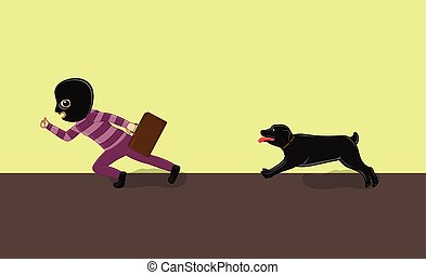 Dog Running Behind a Thief Vector Illustration