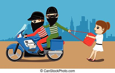 Bike Robbers Trying to Snatch Purse - Bike Robbers Trying to...