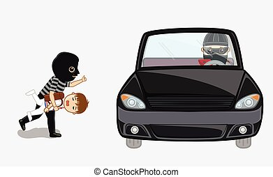 Robber Kidnapped a Kid and Running Toward Car Vector...