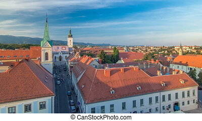 Church of St. Mark timelapse and parliament building Zagreb,...