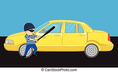 Burglar Breaking a Car Mirror Vector Illustration