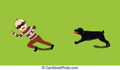 Dog Following a Robber Vector Illustration