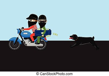 Dog Following Robbers Bike Vector Illustration