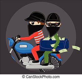 Robbers Run Away on Bike After Robbery Vector Illustration