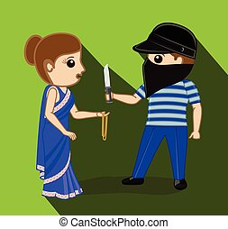 Thief Trying to Rob a Woman Vector Illustration