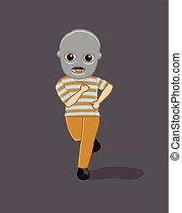 Funny Robber Running Pose Vector Illustration