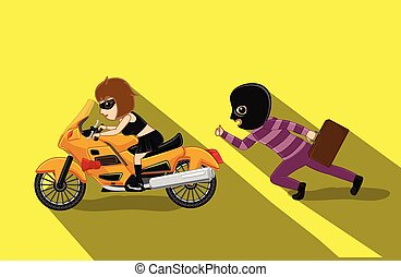 Thief Running Behind Partner Bike Vector Illustration