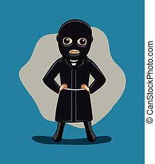 Black Suit Gangster Character Vector Illustration