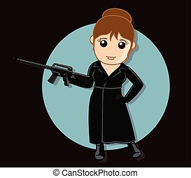 Female Gangster with Gun Vector Illustration