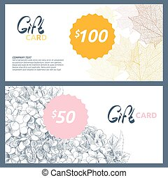 Gift card with hydrangea and autumn leaves - Gift card with...