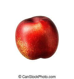 Ripe fresh nectarine peach isolated on white background....