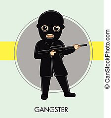 Robber with Gun in Black Suit Vector Illustration