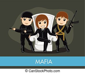 Female Mafia Gang Character Vector Illustration